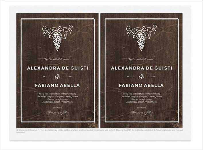 Winery Wedding Invitation Template PSD File Page 1