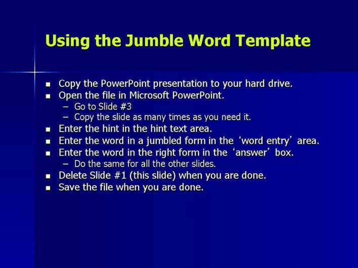 download word jumble game template for free