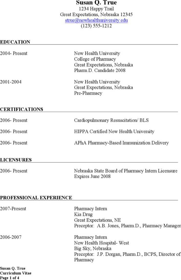Word Pharmacist Resume Templates Page 1
