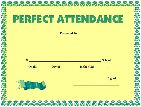 download attendance certificate template for free