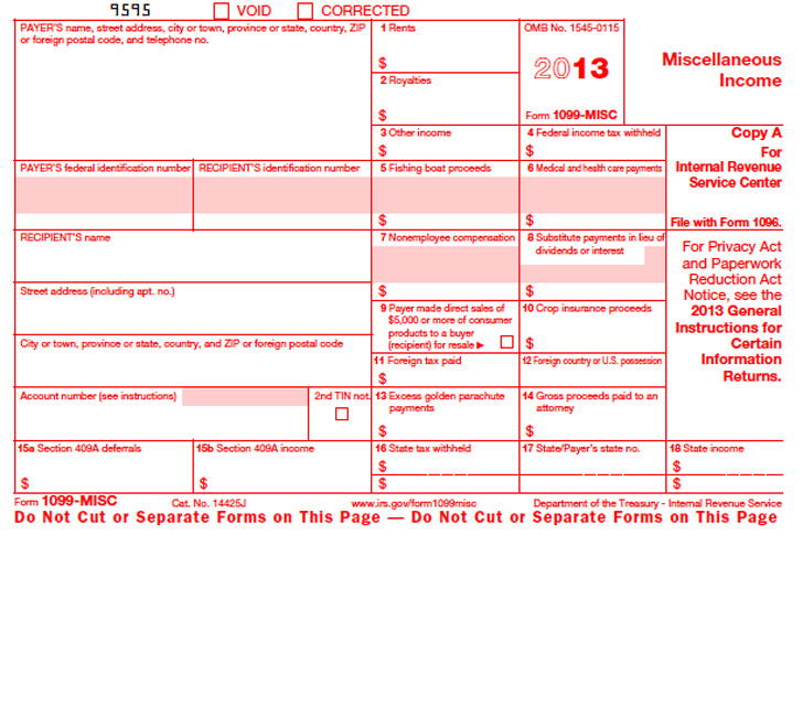 1099-MISC Form 2013
