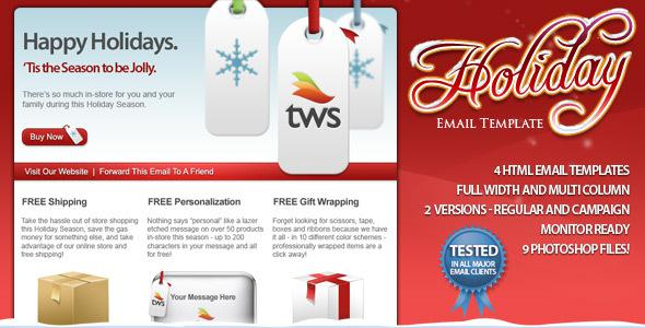 2 Christmas Email Newsletter Photoshop Psd Design