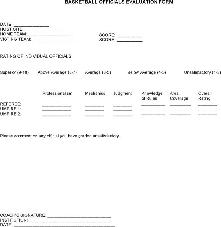2005 2006 Iccac Basketball Officials Evaluation Form