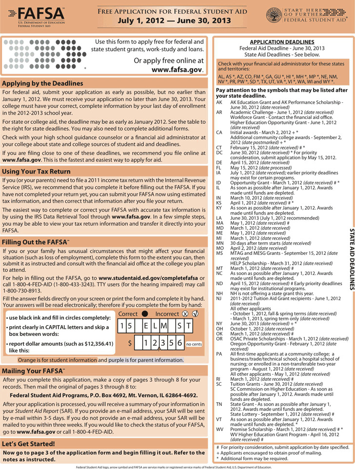 2012-2013 Free Application For Federal Student Aid