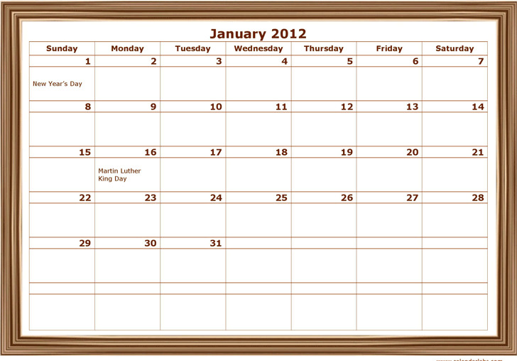 2012 Monthly Classic Design Template