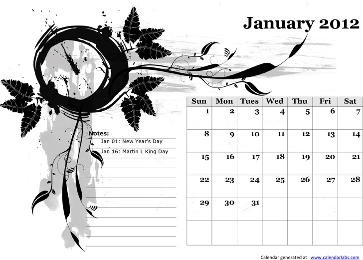 2012 Monthly Templates With Us Holidays and Picture Background