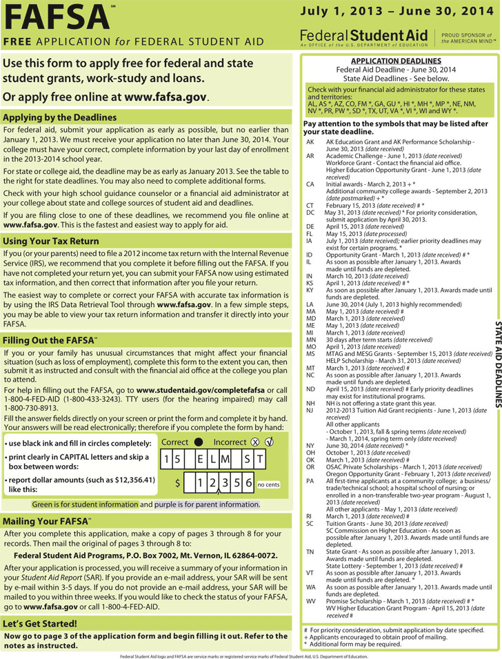2013-2014 Free Application For Federal Student Aid