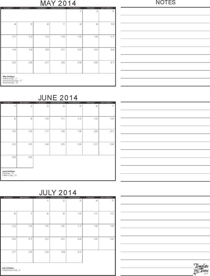 2014 Calendar Three Months Per Page 2