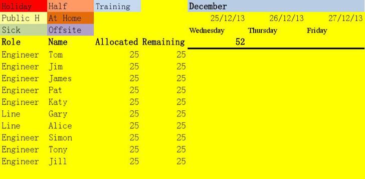 2014 Staff Holiday Planner