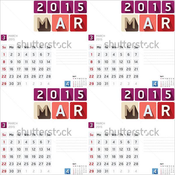 2015 Event Calendar Template