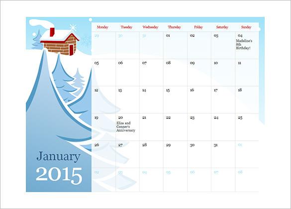 2015 Illustrated Seasonal Schedule Template Download