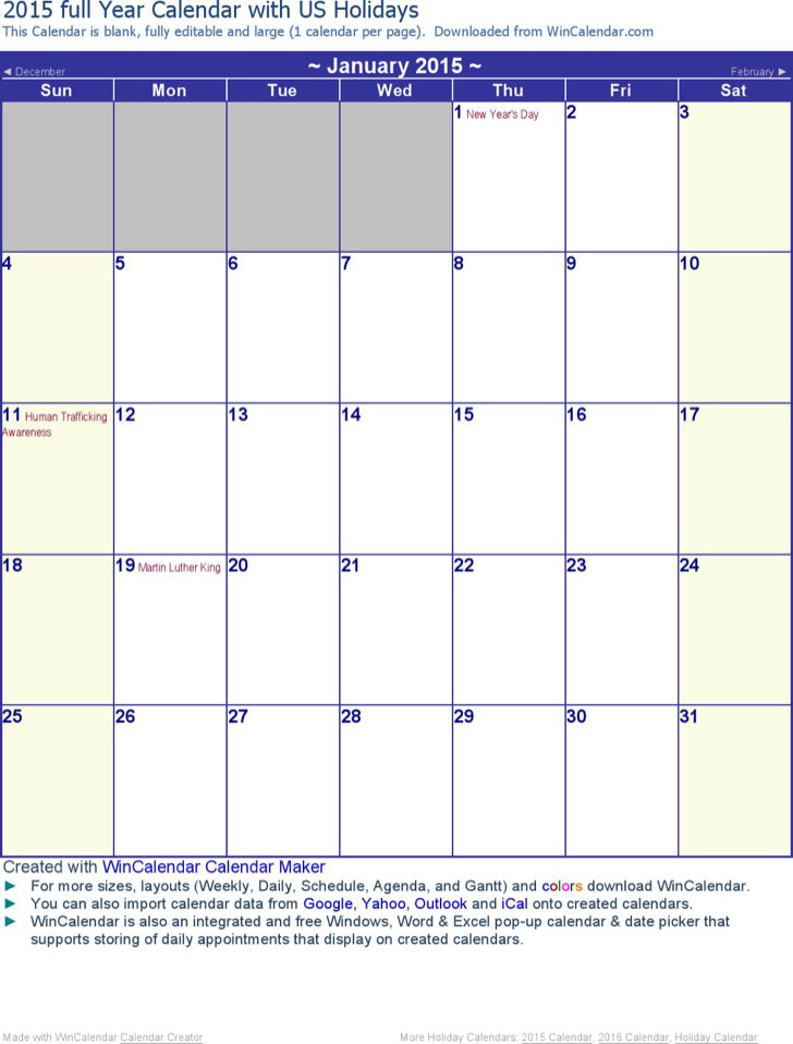 2015 Monthly Calendar Holidays