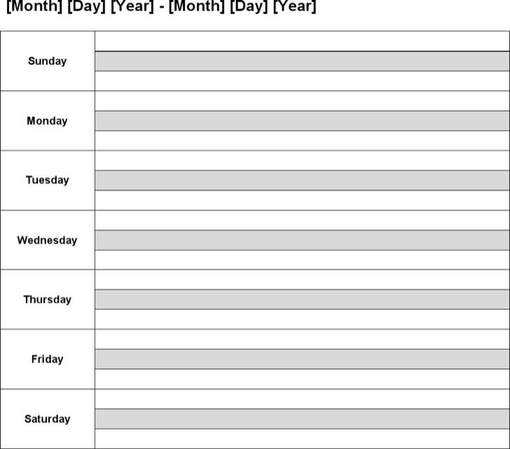 weekly calendar templates 2015