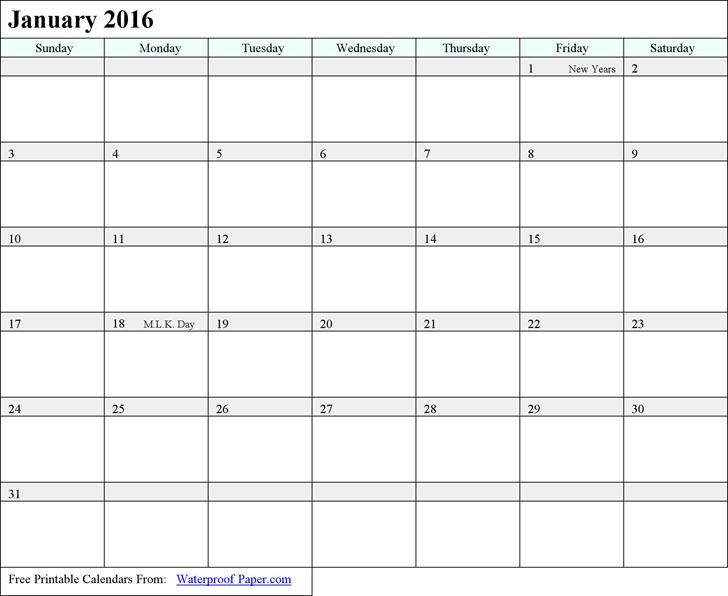 2016 Monthly Calendar 1