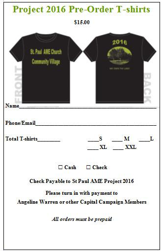 2016 T-Shirt Order Form Template Free Download