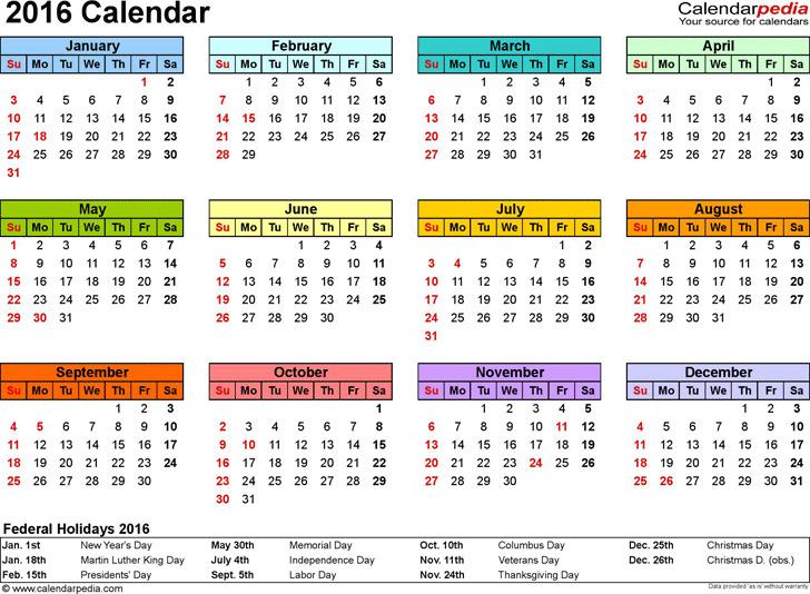 2016 Yearly Calendar 1