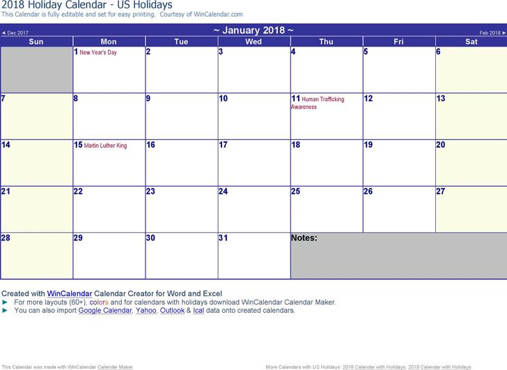 2018 Monthly Calendar 2