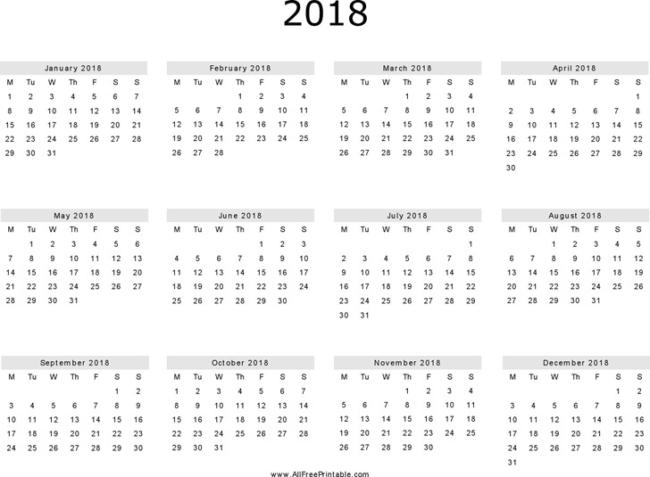 3 Yearly Calendar 2018 Free Download