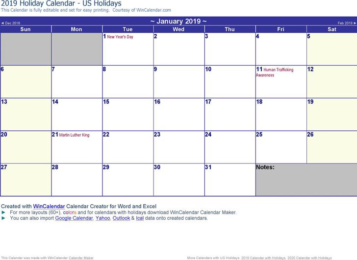 2019 Monthly Calendar 2