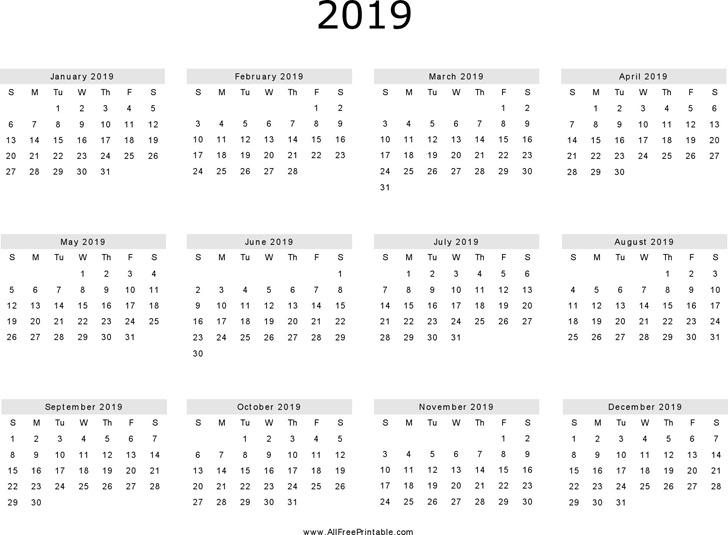 2019 Yearly Calendar 1