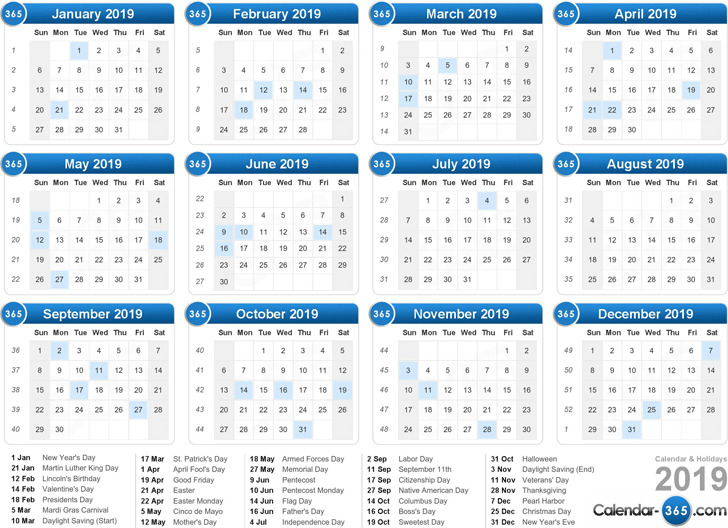 2019 Yearly Calendar 3