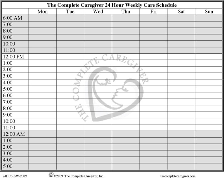 24 Hour Care Schedule Medicine Chart Download Pdf