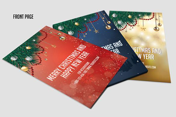 3 Christmas & New Year Invitation Template PSD Format