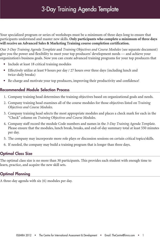 3-Day Training Agenda Template