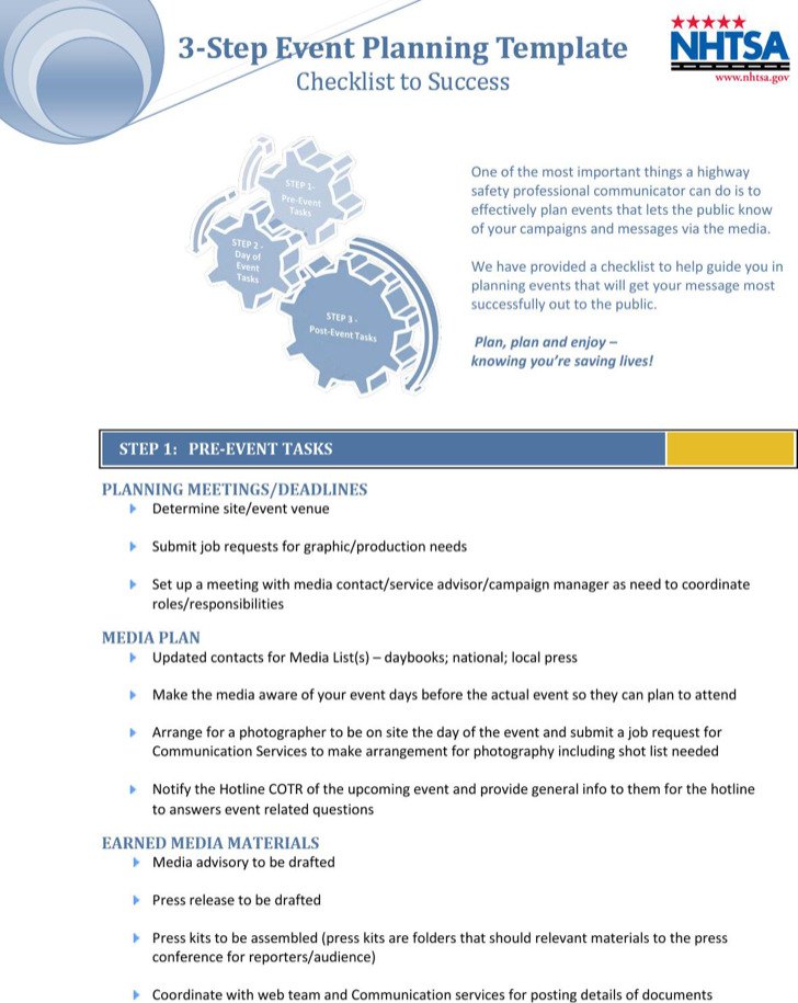 3 Step Event Planning Template