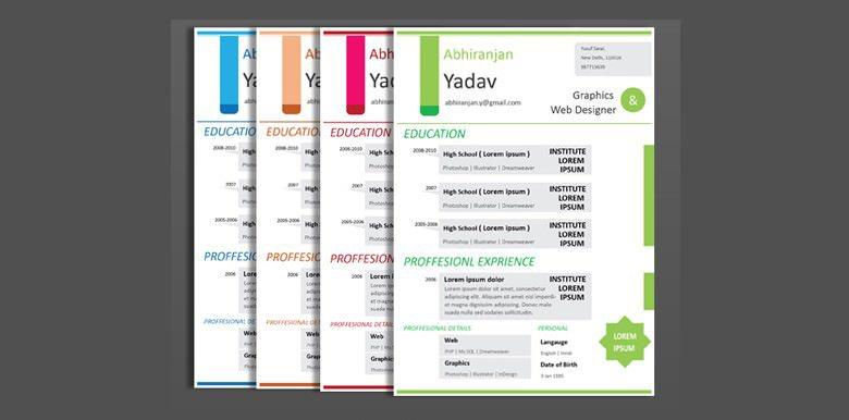 4 Set Creative & Professional Resume Formats