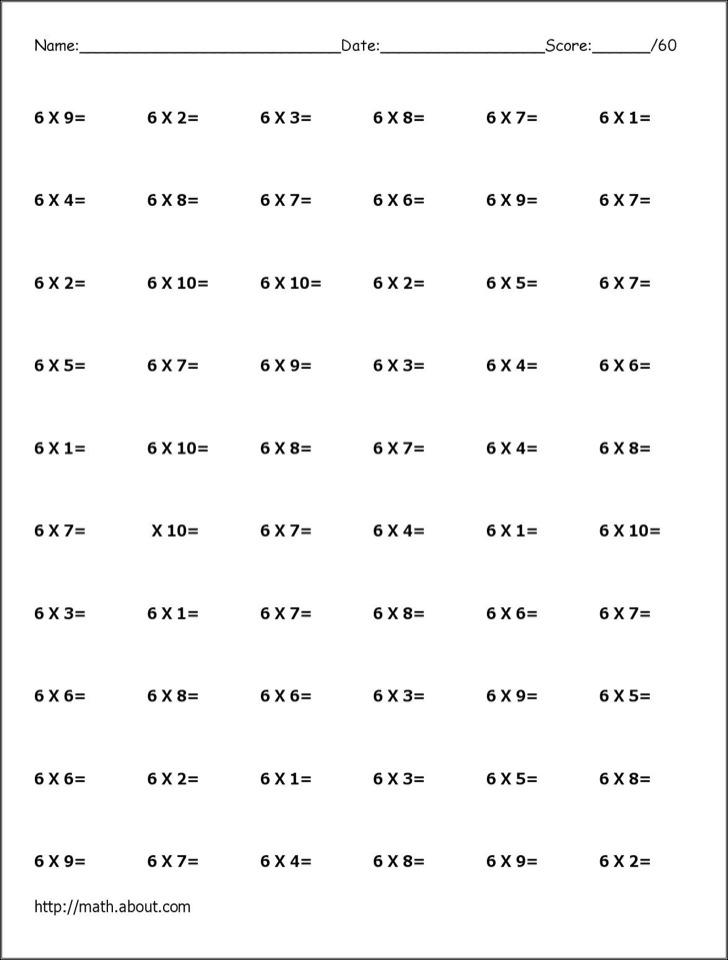 6 Times Table Worksheet Free Download