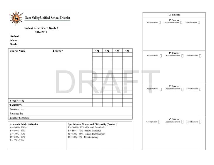 6th Grade Report Card Template PDF Printable Template