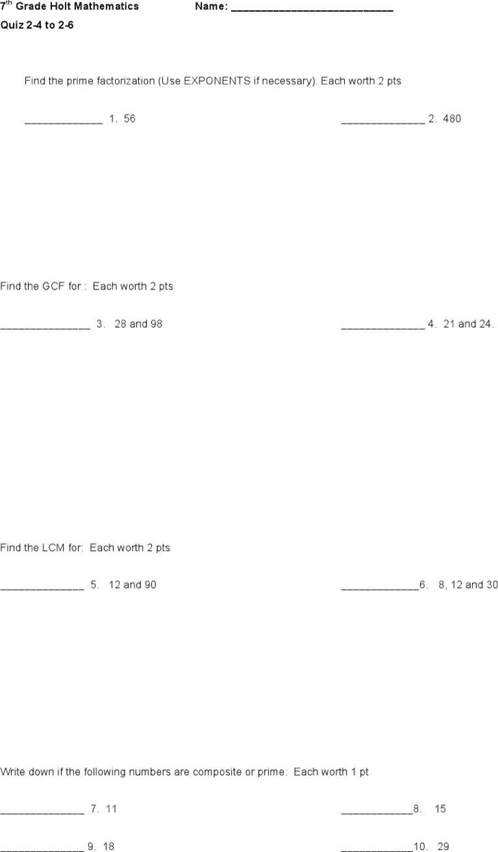 7Th Grade Algebra Examples