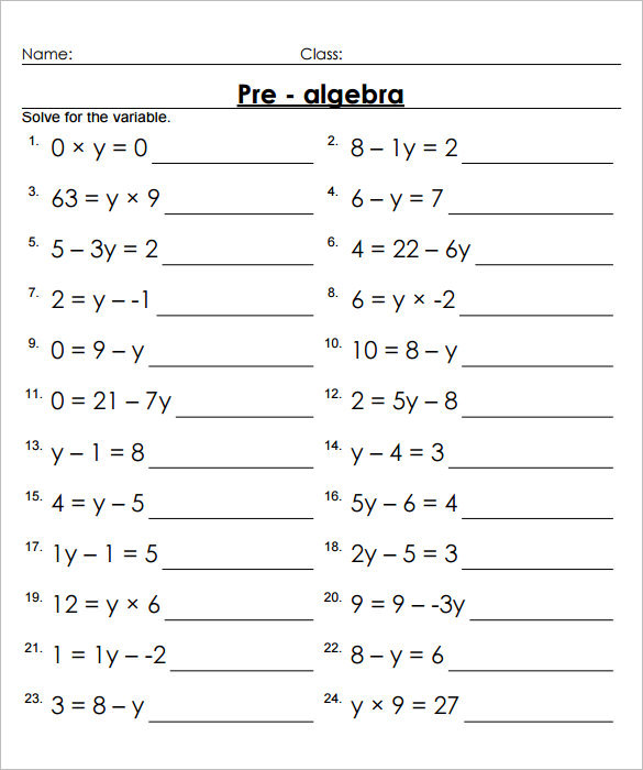 Pre algebra practice worksheets answers