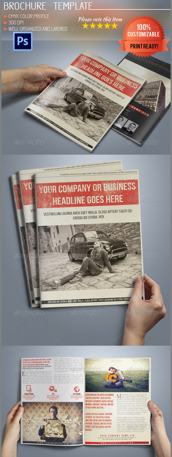 A5 Retro Bi-Fold Business Brochure