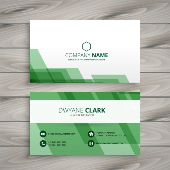 Abstract green business card Free Vector Free Download