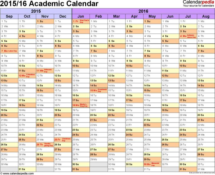 Academic Calendar 2015 16 In Microsoft Word