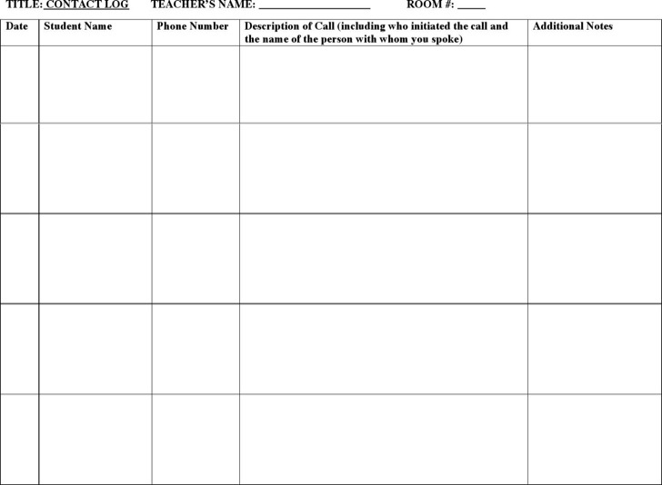 Academic Phone Log Template For Schools