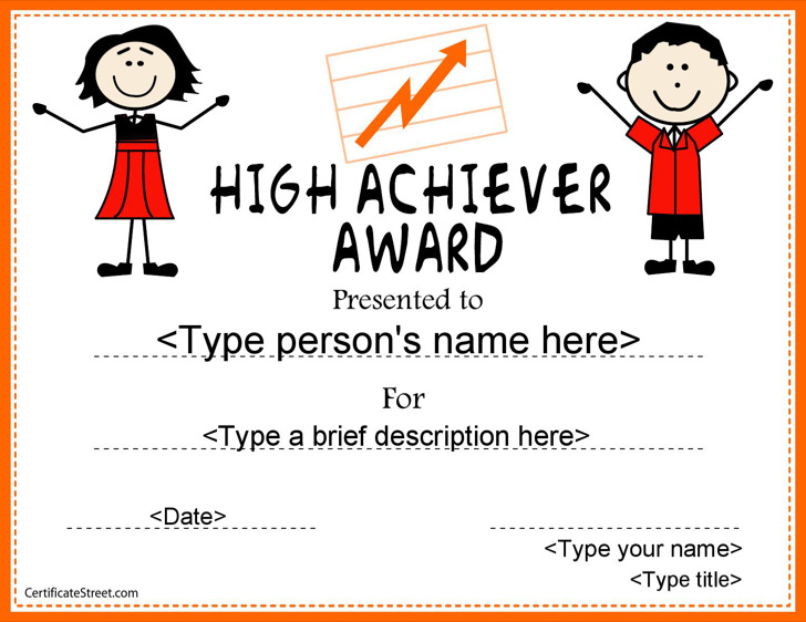 Achievement Awards For High School Students