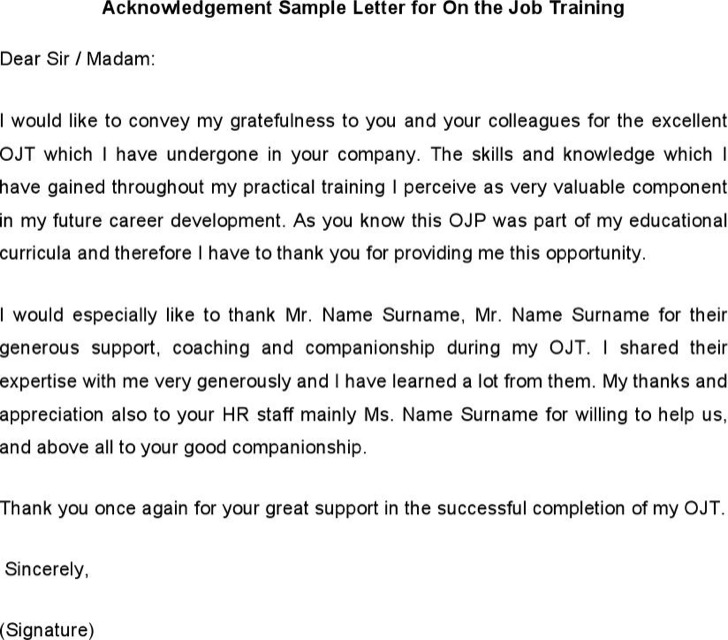 Acknowledgement Sample Letter For On The Job Training