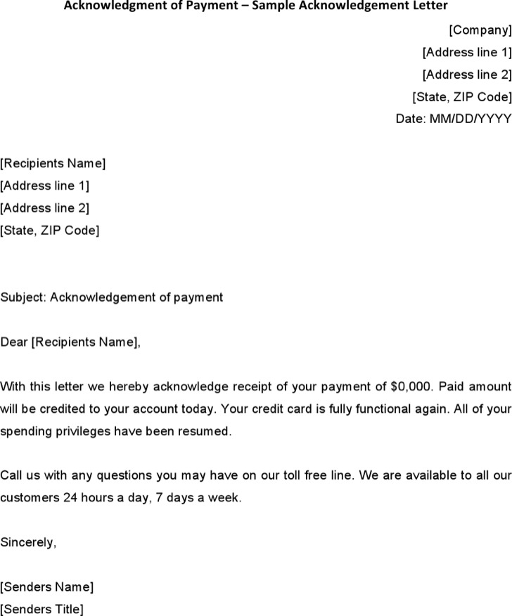 Acknowledgment of Payment - Sample Acknowledgement Letter