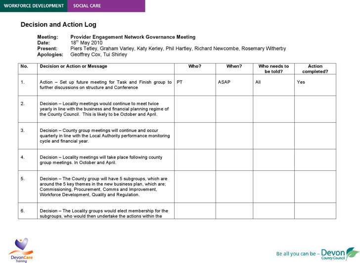 Action Decision Log Template