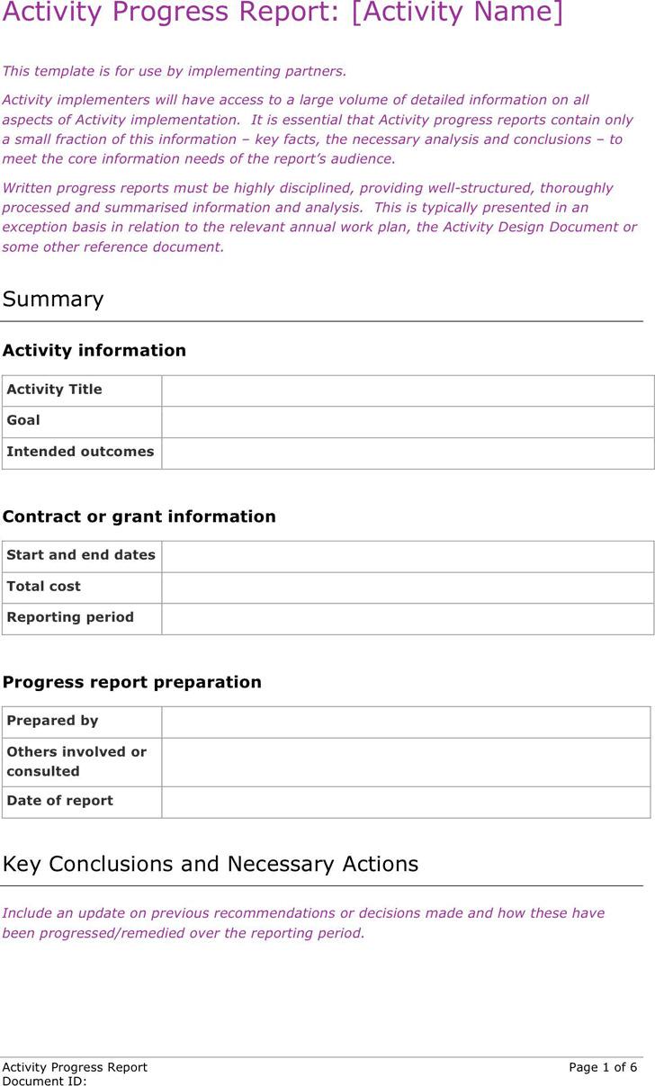 Activity Progress Report Template