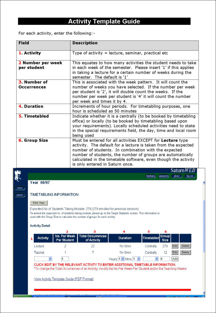 Activity Schedule Template Guide Word Doc Download