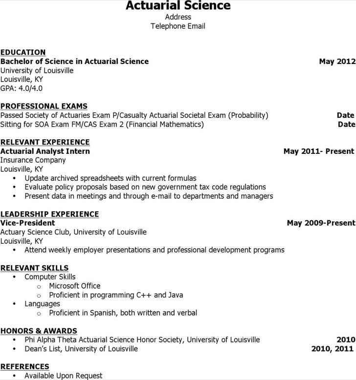 Sample Actuarial Resumes: 4+ Actuarial Resume Templates Free Download
