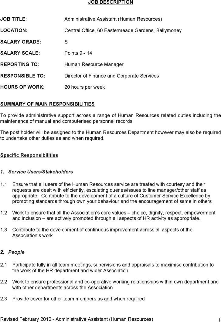 Administrative Assistant Job Description Template Word