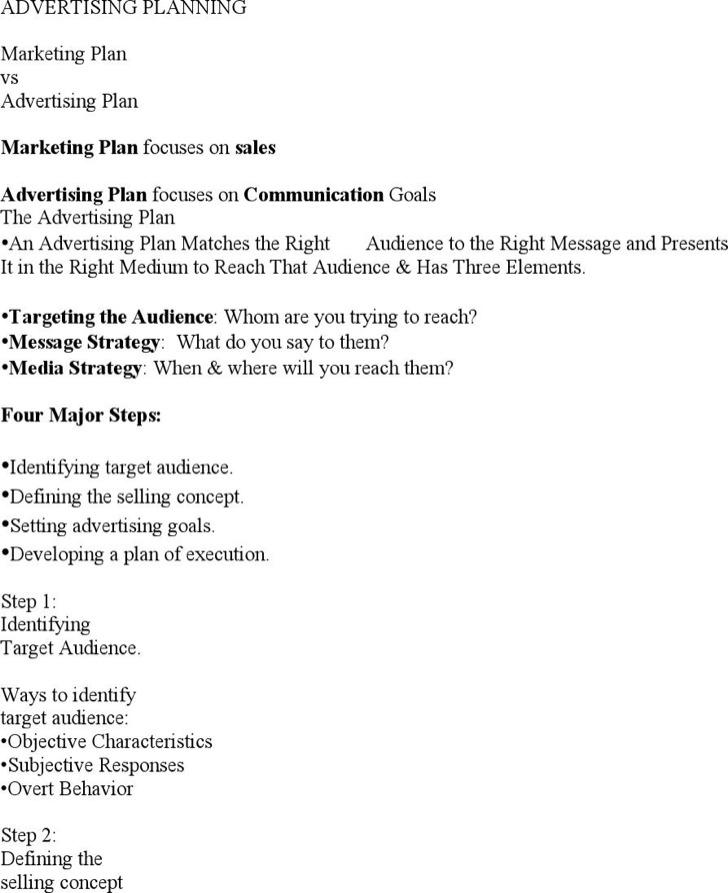 Advertising Marketing Plan Template