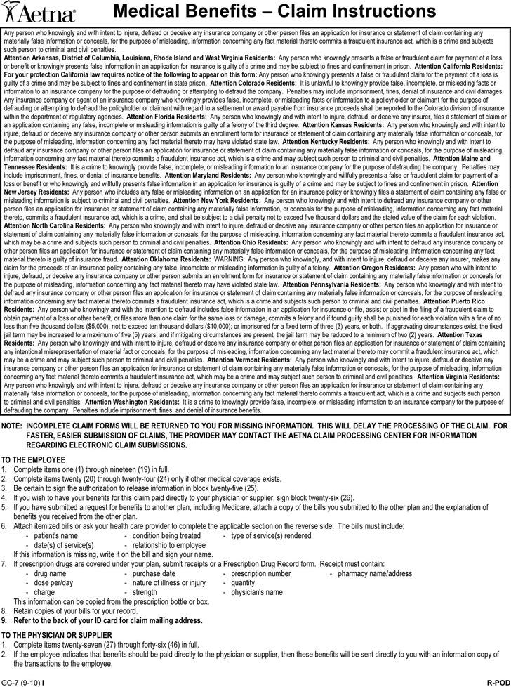 Aetna Medical Claim Form 1