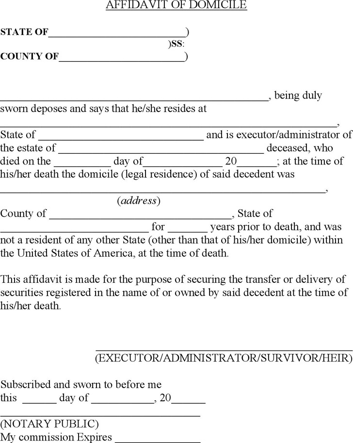 Affidavit of Domicile 1