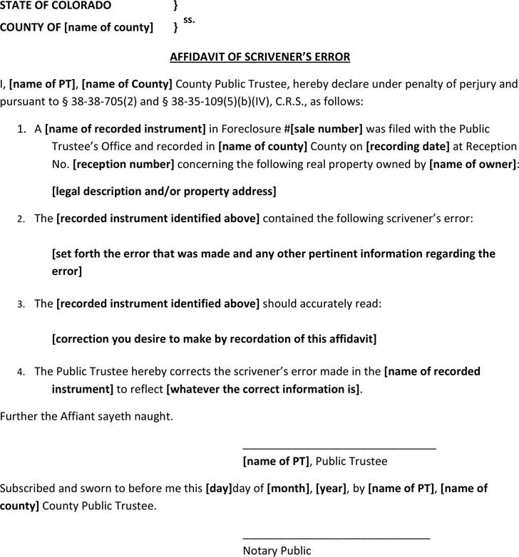 Affidavit of Scrivener's Error